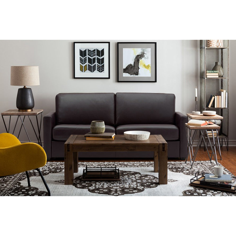 Adorn India Straight line L Shape Sofa (Brown)