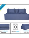 Adorn India Easy Three Seater Sofa Cum Bed Checks Design 5' x 6' (Grey)