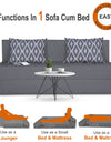 Adorn India Easy Three Seater Sofa Cum Bed Rhombus '5 x 6' (Grey)