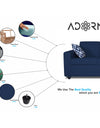 Adorn India Monteno 3 Seater Sofa (Blue)