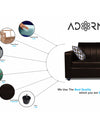 Adorn India Rio Highback Leatherette 3 Seater Sofa (Brown)