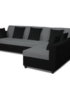 Adorn India Rio Decent L Shape 5 Seater coner Sofa Set (Right Side Handle) (Grey & Black)
