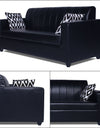 Adorn India Rio Highback Leatherette 3 Seater Sofa (Black)