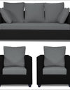 Adorn India Zink Straight Line 3-1-1 5 Seater Sofa Set (Black & Grey)
