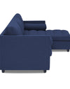 Adorn India Alexander L Shape Sofa (Right Side Handle)(Dark Blue)