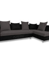 Adorn India Adillac 5 Seater corner sofa (Right Side) (Grey & Black)