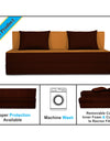 Adorn india Easy Three Seater Sofa Cum Bed (3 Years Warrenty Quality Foam)-Perfect for Seat & Sleep Washeble Polyster Fabric Cover (Camel & Brown) 6'x6'.Pillows Free