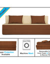 Adorn india Easy Three Seater Sofa Cum Bed (3 Years Warrenty Quality Foam)-Perfect for Seat & Sleep Washeble Polyster Fabric Cover (Brown & Beige) 6'x6'.Pillows Free