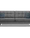 Adorn India Chilly 3 Seater Fabric Sofa (Grey)