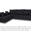 Adorn India Straight Line L Shape Sofa (Left Side Handle)(Black)