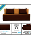 Adorn India Easy Three Seater Sofa Cum Bed (3 Years Warrenty Quality Foam)-Perfect for Seat & Sleep Washeble Polyster Fabric Cover (Camel & Brown) 5'x6'.Pillows Free