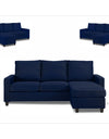 Adorn India Daffodil Three Seater Modular Sofa (Blue)