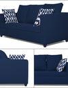 Adorn India Zink Straight Line 3-1-1 5 Seater Sofa Set (Blue)