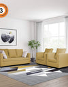 Adorn India Zink Straight Line 3-1-1 5 Seater Sofa Set (Beige)