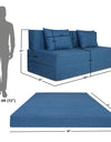 Adorn India Easy Three Seater Sofa Cum Bed Checks Design 5' x 6' (Blue)