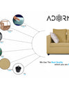 Adorn India Zink Straight Line 3 Seater Sofa (Beige)
