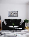 Adorn India Zink Straight Line 3 Seater Sofa (Black)