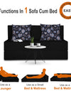 Adorn India Easy Two Seater Sofa Cum Bed Floral '4 x 6' (Black)