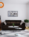 Adorn India Monteno Leatherette 3 Seater Sofa (Brown)