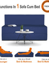 Adorn India Easy Treno Two Seater Sofa Cum Bed Sit & Sleep Perfect for Guest, Colour Blue, 4'x6'