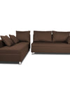 Adorn India Straight Line L Shape Sofa (Left Side Handle)(Brown)