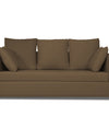 Adorn India Zink Straight Line 3 Seater Sofa (Brown)