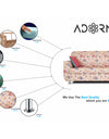 Adorn India Roselyn 3 Seater Sofa Digitel Print (Beige)