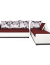 Adorn India Aliana L Shape Leatherette Fabric 5 Seater Sofa (Maroon & White)