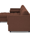 Adorn India Alexander L Shape Sofa (Left Side Handle)(Brown)