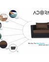 Adorn India Exclusive Two Tone Straight Line Three Seater Sofa Cum Bed (Brown & Black)