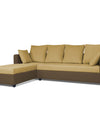 Adorn India Zink Straight line L Shape 5 Seater Sofa Plain Cushion (Left Side Handle)(Brown & Beige)