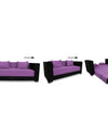 Adorn India Almond 3 Seater Sofa cumbed(Light Purple & Black)