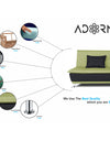 Adorn India Exclusive Two Tone Arden Three Seater Sofa Cum Bed (Green & Black)