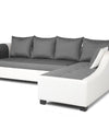Adorn India Aliana L Shape Leatherette Fabric 5 Seater Sofa (Light Grey & White)
