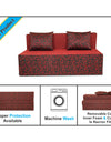 Adorn India Easy Two Seater Sofa Cum Bed Poly Cotton 4' x 6' (Maroon and Black)