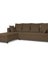 Adorn India Zink Straight line L Shape 5 Seater Sofa Plain Cushion (Left Side Handle)(Camel)