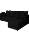 Adorn India Zink Straight line L Shape 5 Seater Sofa Plain Cushion(Black)