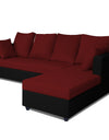 Adorn India Zink Straight line L Shape 5 Seater Sofa Plain Cushion (Maroon & Black)