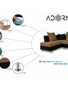 Adorn India Adillac 5 Seater Corner Sofa(Left Side Handle)(Camel & Black)