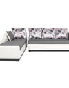 Adorn India Aliana L Shape Leatherette Fabric 5 Seater Sofa (Left Side Handle)(Light Grey & White)
