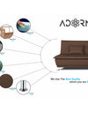 Adorn India Arden 3 Seater Sofa Cum Bed Fabric (Brown)