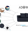 Adorn India Straight Line Three Seater Sofa(Black)