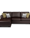 Adorn India Tiverton 5 Seater Corner Sofa Leatherette Left Hand Side (Brown)