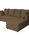 Adorn India Zink Straight line L Shape 5 Seater Sofa Plain Cushion (Brown)