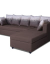 Adorn India Zink Straight line L Shape 5 Seater Sofa Wave Cushion (Brown)