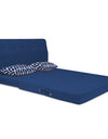 Adorn India Easy Highback Two Seater Sofa Cum Bed Rhombus 4' x 6' (Blue)