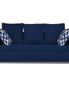 Adorn India Zink Straight Line 3 Seater Sofa (Blue)