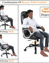 Adorn India Jorden,High-Back Leatherette Executive Office Ergonomic Chair (Black)
