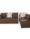Adorn India Mclain L Shape 5 Seater Sofa (Brown)