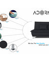 Adorn India Arden 3 Seater Sofa Cum Bed Fabric (Black)